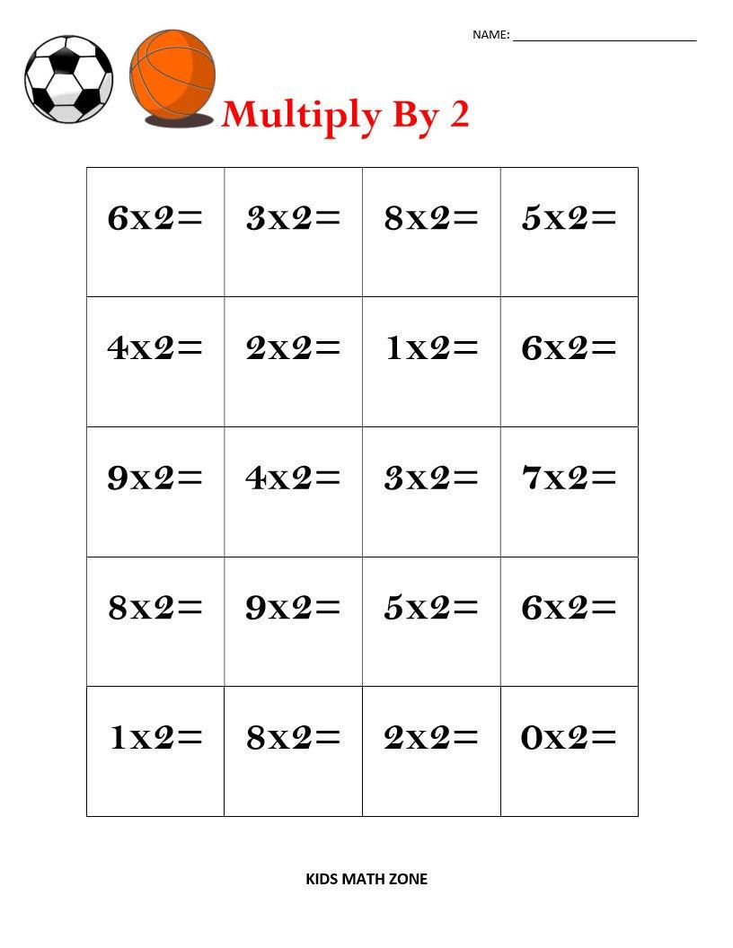 Multiply1 To 9 Worksheets Practice Sports (1-9 inside Printable Multiplication 2X2