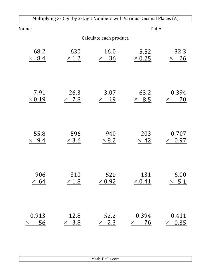 Multiplying 3-Digit2-Digit Numbers With Various Decimal pertaining to Multiplication Worksheets Number 2