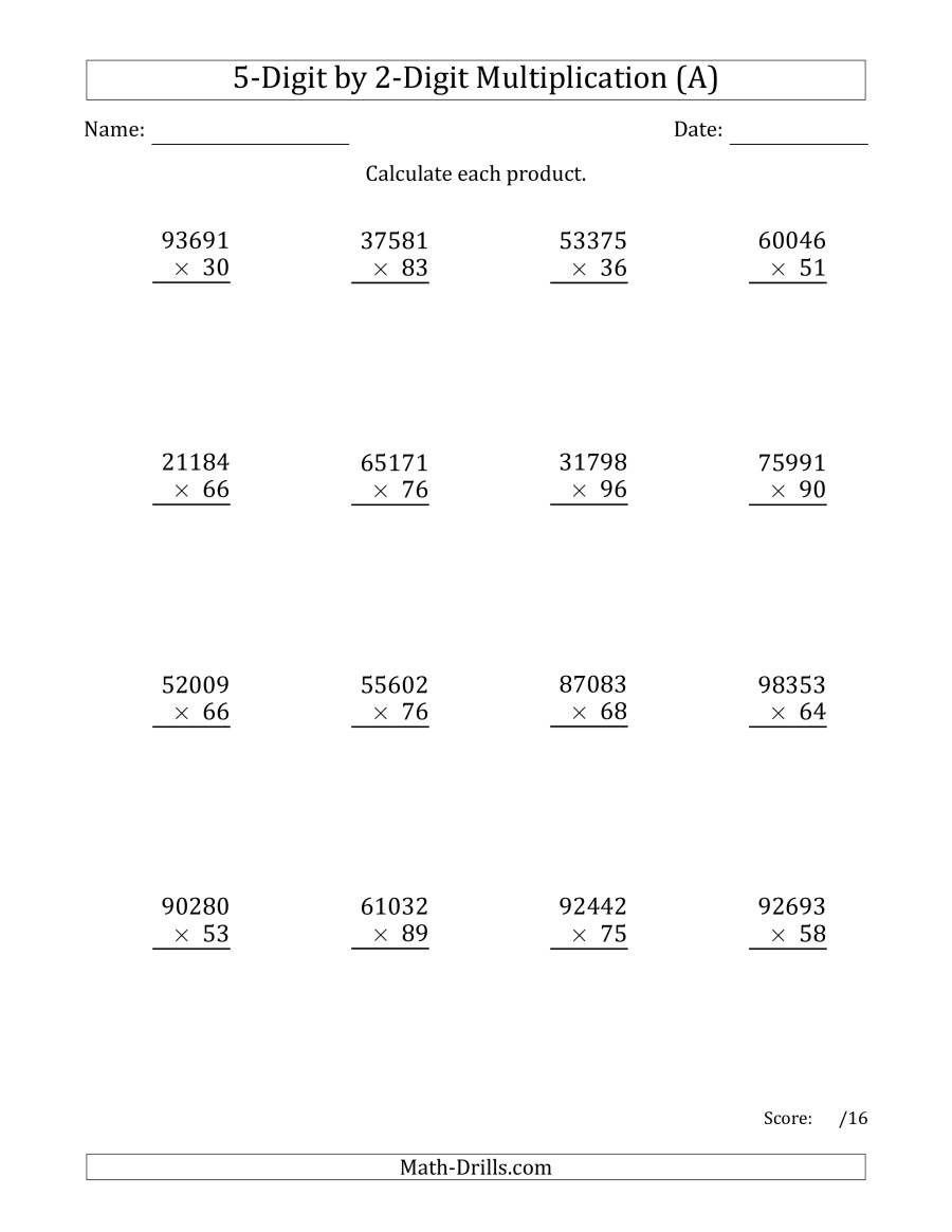 Multiplying 5-Digit2-Digit Numbers (A) with 5's Multiplication Worksheets