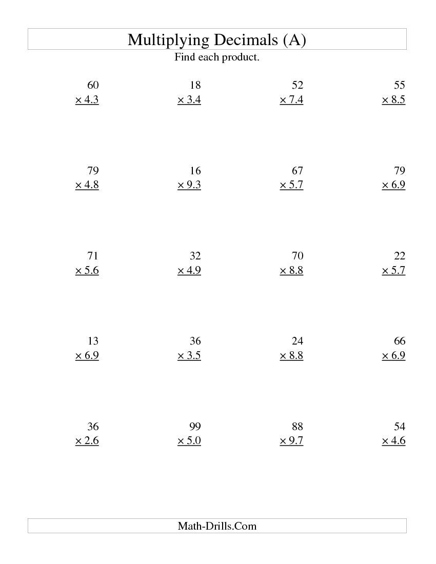 Multiplying Two-Digit Wholetwo-Digit Tenths (All inside Printable Decimal Multiplication Games