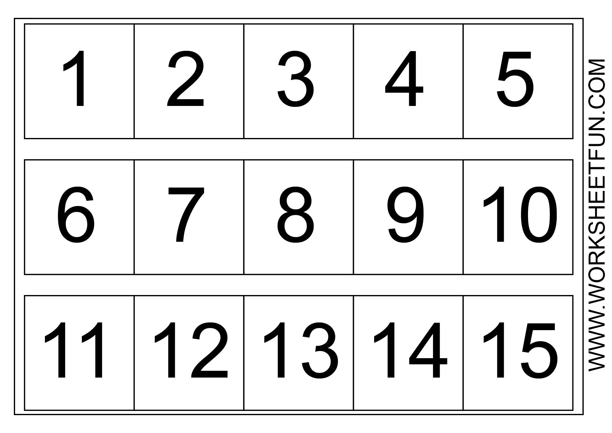 Number Chart 1-15 | Number Worksheets Kindergarten, Number within Printable Multiplication Flash Cards 1-15
