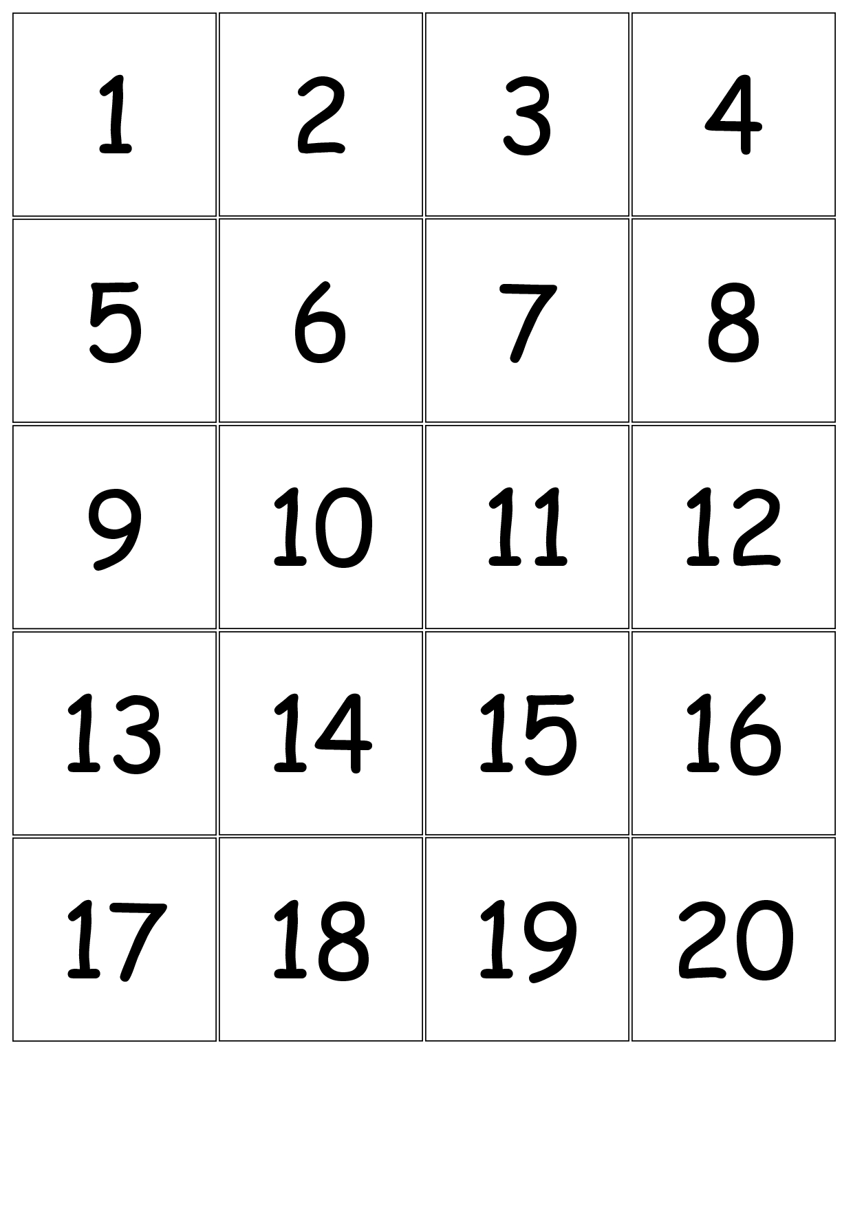 Number+Cards+1-20 | Free Printable Numbers, Number pertaining to Large Printable Multiplication Flash Cards