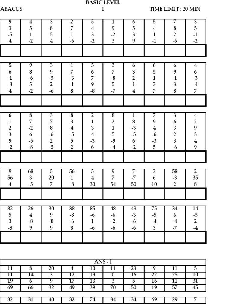 Pinlalitha Venkataramanan On Abacus | Math Worksheets for Multiplication Worksheets Entry Level 3