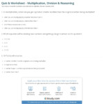 Quiz & Worksheet   Multiplication, Division & Reasoning Regarding Worksheets In Multiplication And Division