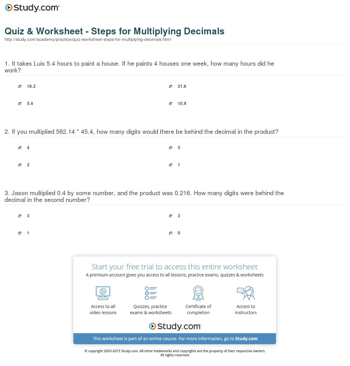 Quiz & Worksheet - Steps For Multiplying Decimals | Study inside Worksheets Multiplication Of Decimals