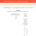 Repeated Addition Or Multiplication Of Decimalsa Whole Within Worksheets Multiplication Of Decimals