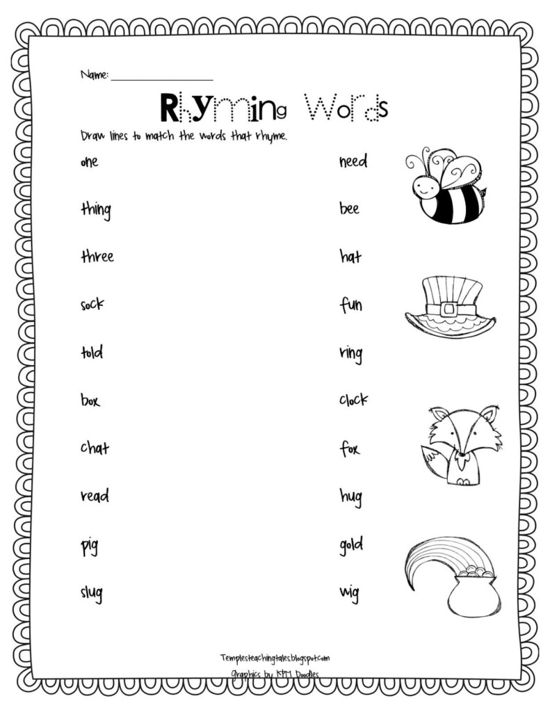 Rhyming Words Match Up: Temple's Teaching Tales | Rhyming With Free Printable Multiplication Rhymes