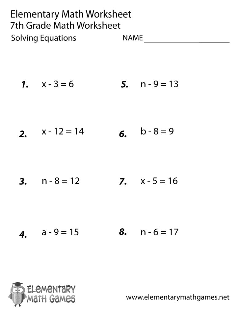 Seventh Grade Solving Equations Worksheet Printable   Math Inside Printable Multiplication Worksheets For 7Th Grade