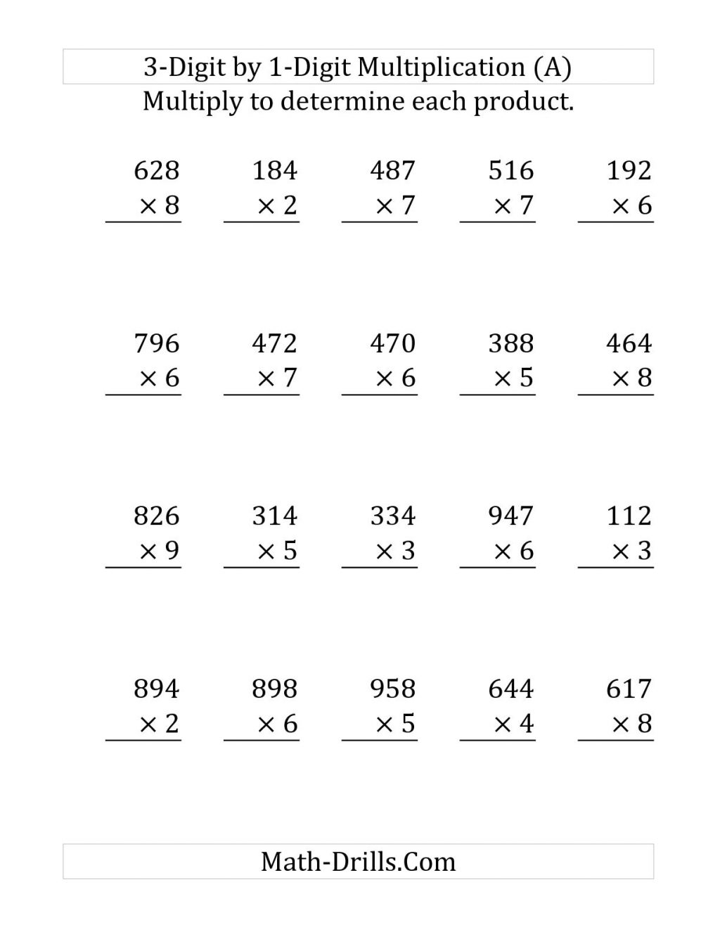 Single Multiplication Worksheet | Printable Worksheets And throughout Multiplication Worksheets Horizontal