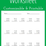 Subtracting Decimals Worksheet   Customizable And Printable Within Printable Decimal Multiplication Games