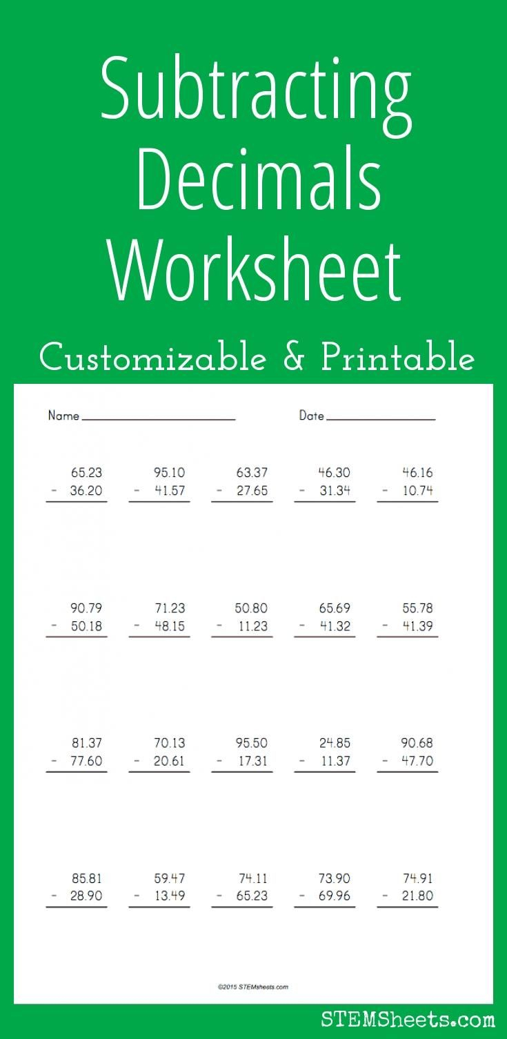 Subtracting Decimals Worksheet - Customizable And Printable within Printable Decimal Multiplication Games