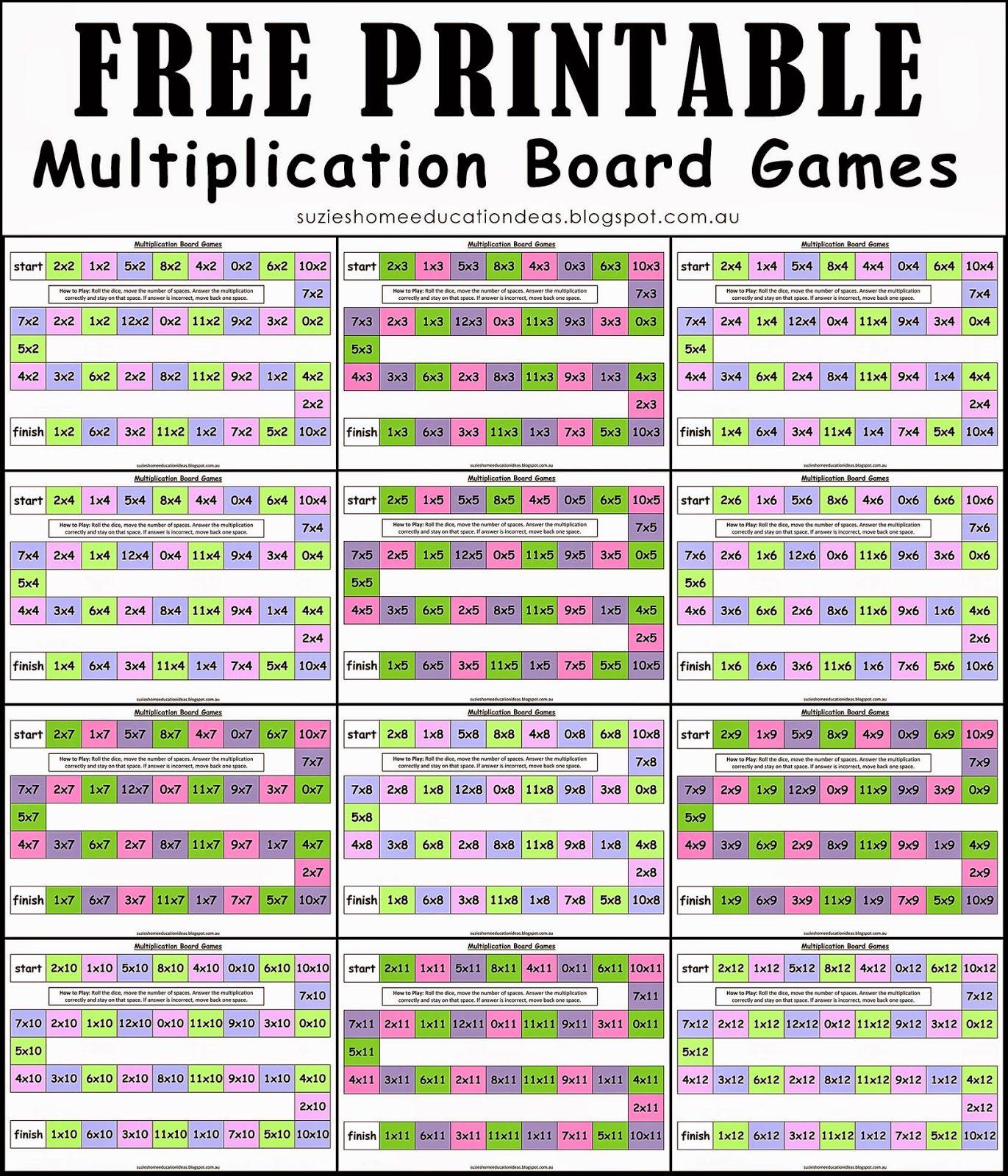 Suzie De Home Educație Idei: Gratuit Jocuri Multiplicare pertaining to Printable Multiplication Fact Games