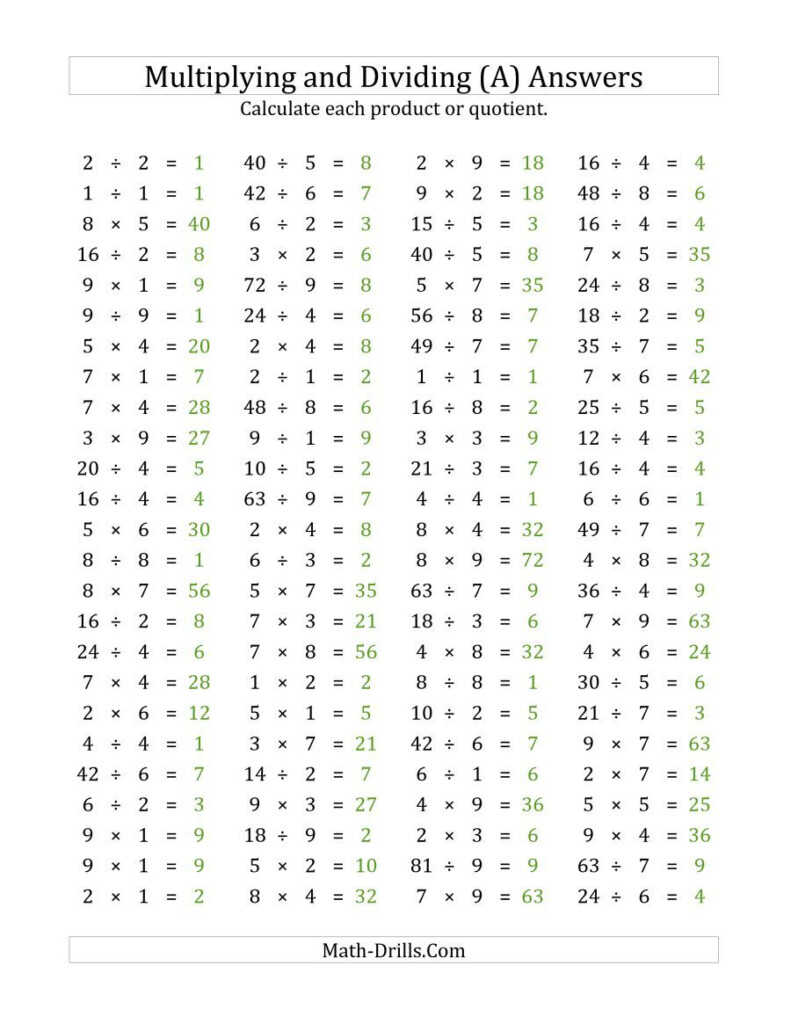 The 100 Horizontal Multiplication/division Questions (Facts Pertaining To Multiplication Worksheets Horizontal