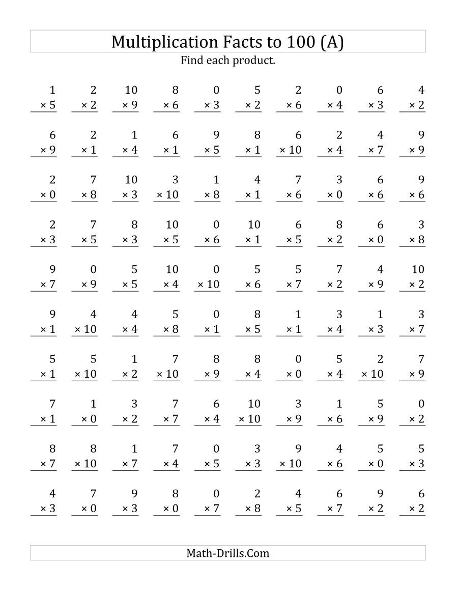 The Multiplication Facts To 100 Including Zeros (A) Math with regard to Printable Multiplication Facts Test