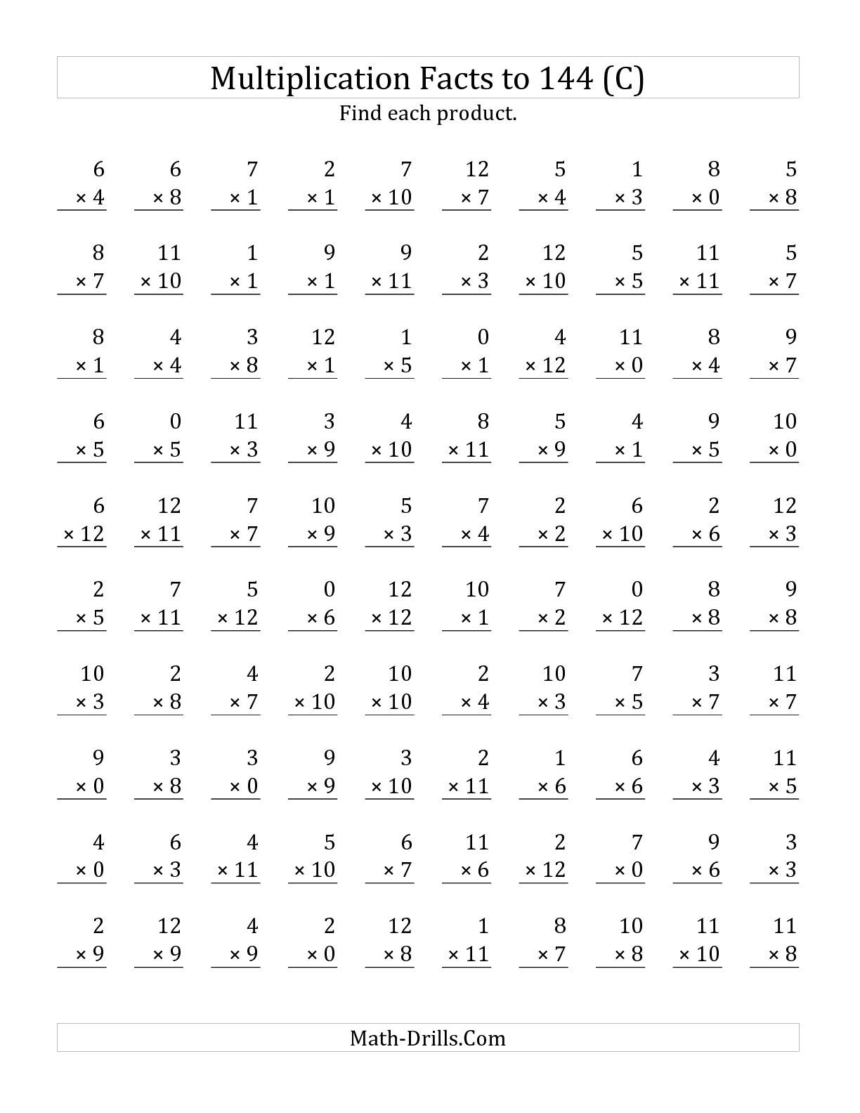 The Multiplication Facts To 144 Including Zeros (C) Math in Printable Multiplication Facts Test