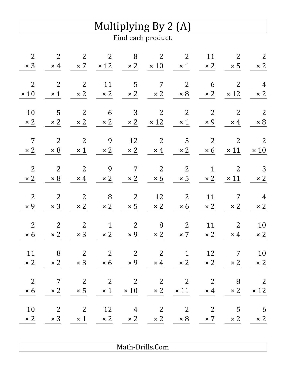 The Multiplying 1 To 122 (A) Math Worksheet From The intended for Worksheets Multiplication 2