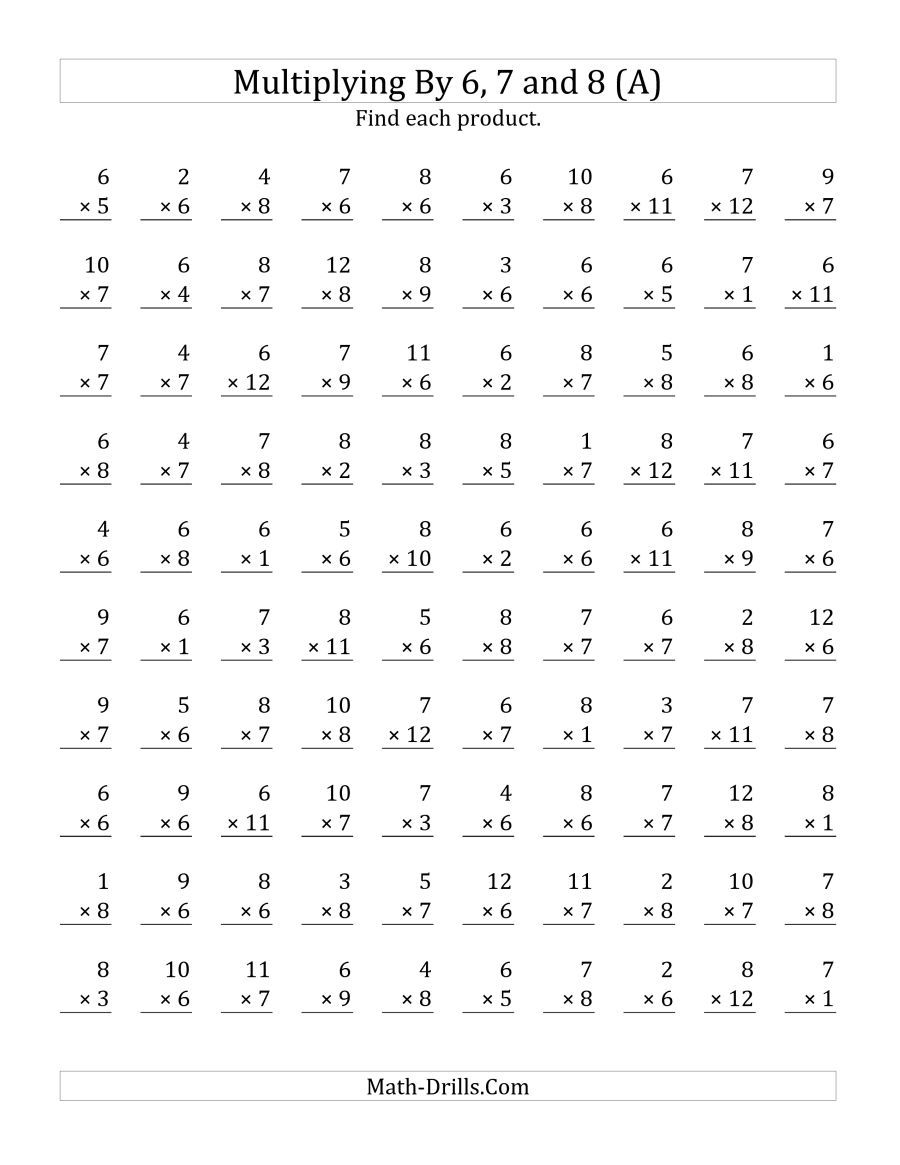 The Multiplying 1 To 126, 7 And 8 (A) Math Worksheet for Printable Multiplication 8