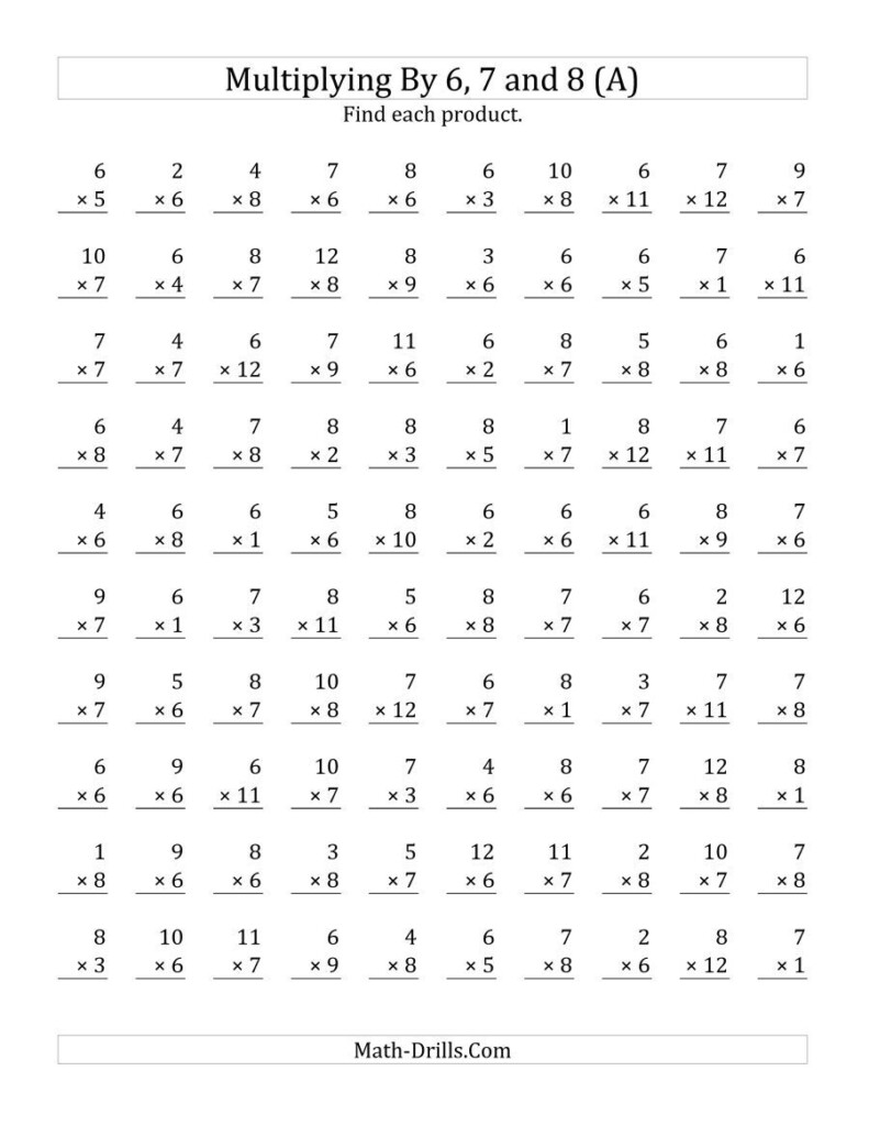 The Multiplying 1 To 126, 7 And 8 (A) Math Worksheet With Regard To Multiplication Worksheets 8 Grade