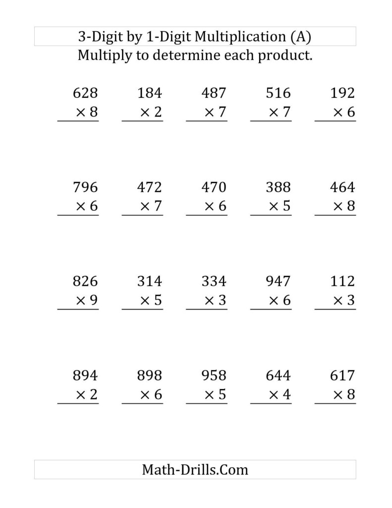 The Multiplying A 3 Digit Numbera 1 Digit Number (Large Regarding Free Printable Long Multiplication