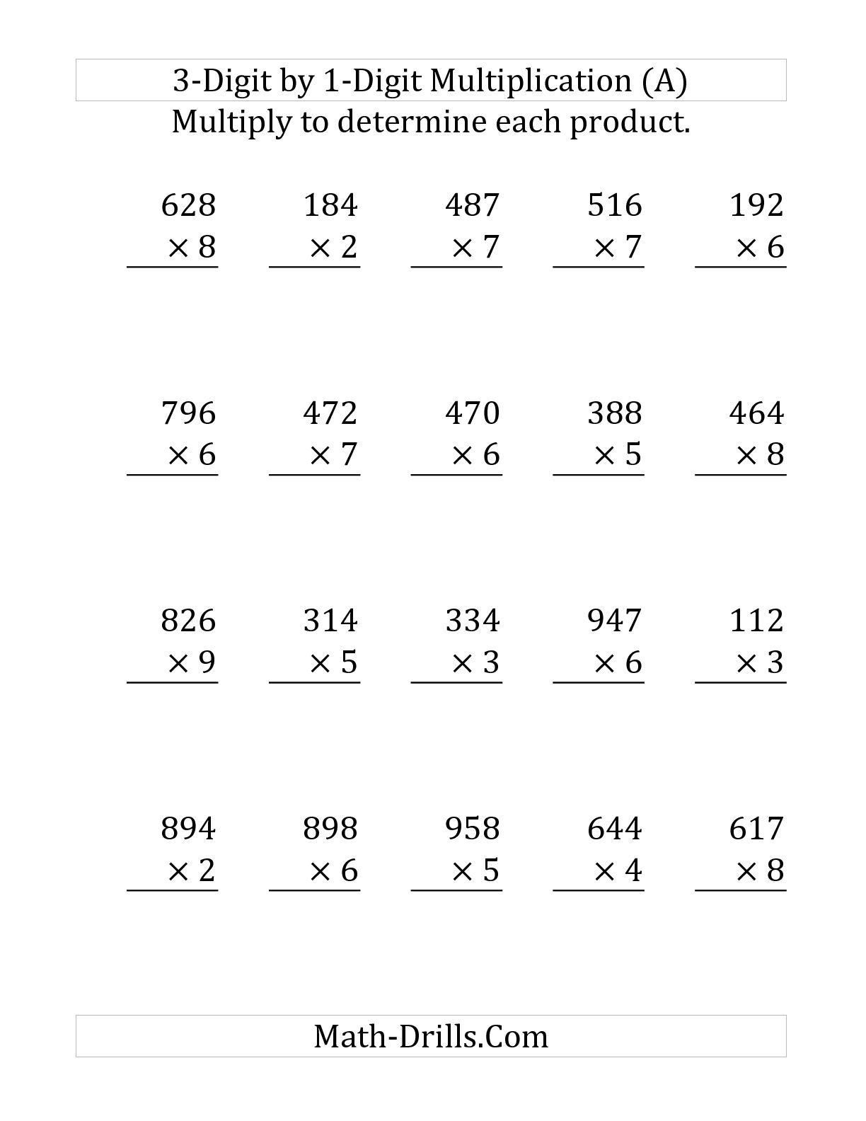 The Multiplying A 3-Digit Numbera 1-Digit Number (Large within Printable Long Multiplication
