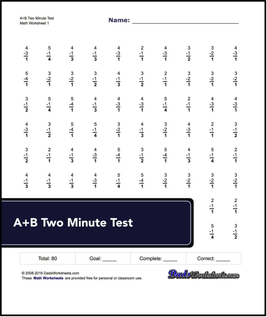 Two Minute Versions Of The Spaceship Math Subtraction For Multiplication Worksheets 80 Problems