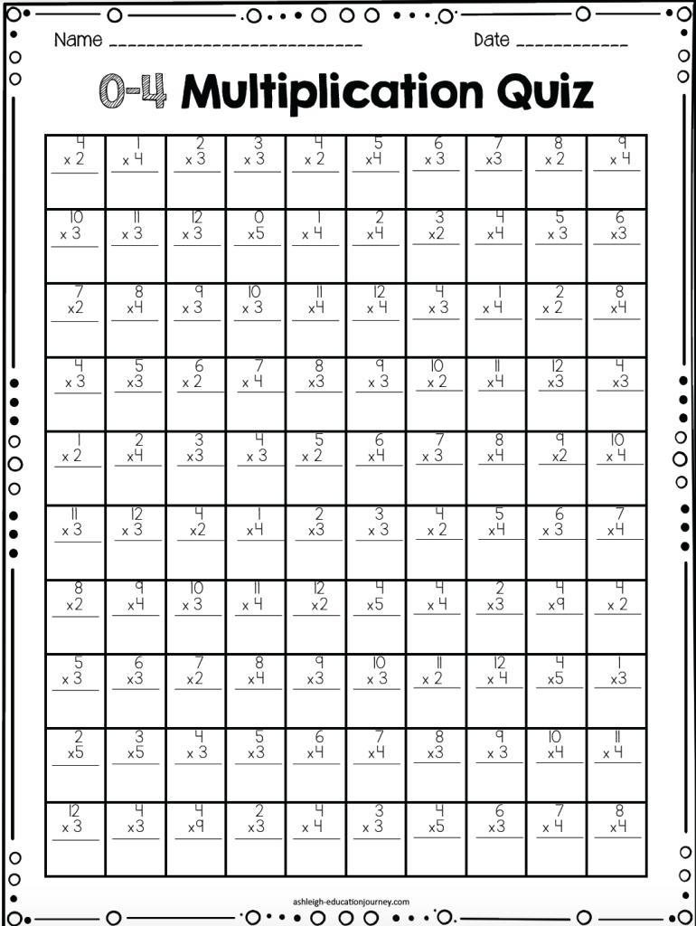 0-12 Multiplication Timed Tests Free | Teaching inside Printable Multiplication Quiz 0-12