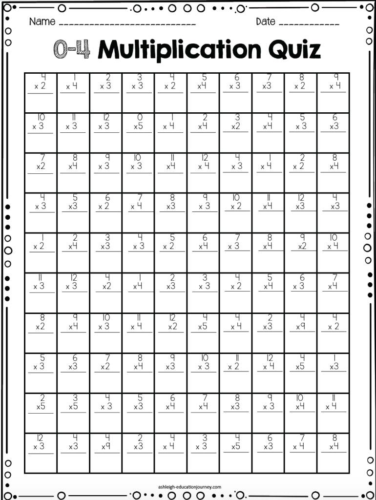 0-12 Multiplication Timed Tests Free | Teaching with Free Printable Multiplication Quiz 0-12