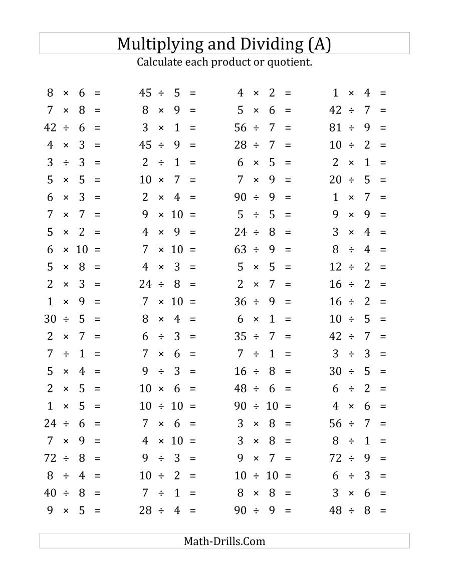 100 Horizontal Multiplication/division Questions (Facts 1 To pertaining to Worksheets On Multiplication And Division