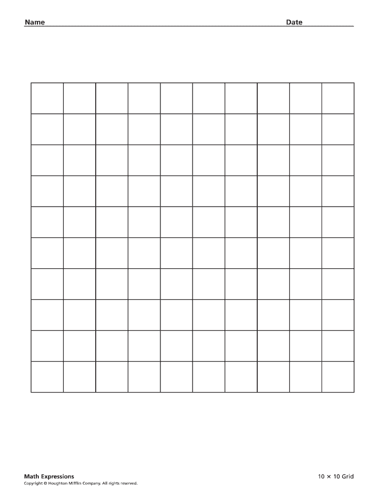10X10 Grid - Fill Online, Printable, Fillable, Blank | Pdffiller with Printable 10X10 Multiplication Grid