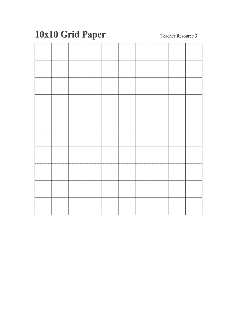10X10 Grid - Fill Online, Printable, Fillable, Blank | Pdffiller with regard to Printable 10X10 Multiplication Grid