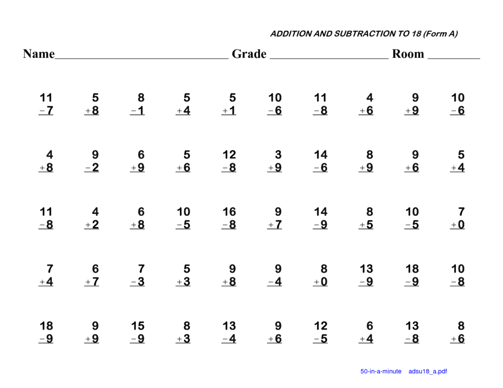 1St Grade Addition And Subtraction Worksheets | 1St Grade Inside Multiplication Worksheets 5Th Grade Pdf