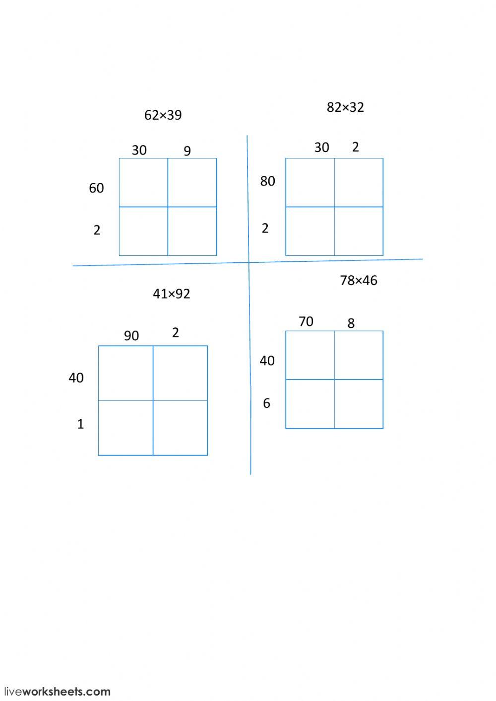 2 Digit Multiplication With An Area Model - Interactive pertaining to Multiplication Worksheets Using Area Model