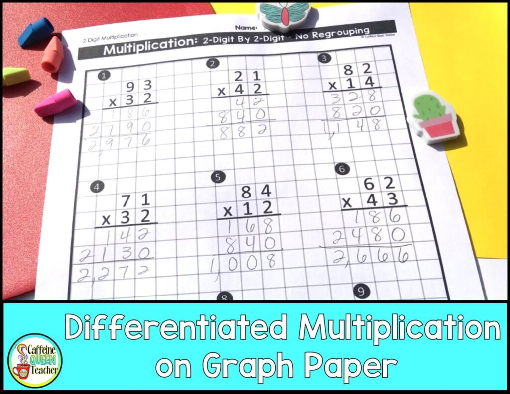2-Digit Multiplication Worksheets: Differentiated - Caffeine in Multiplication Worksheets On Grid Paper