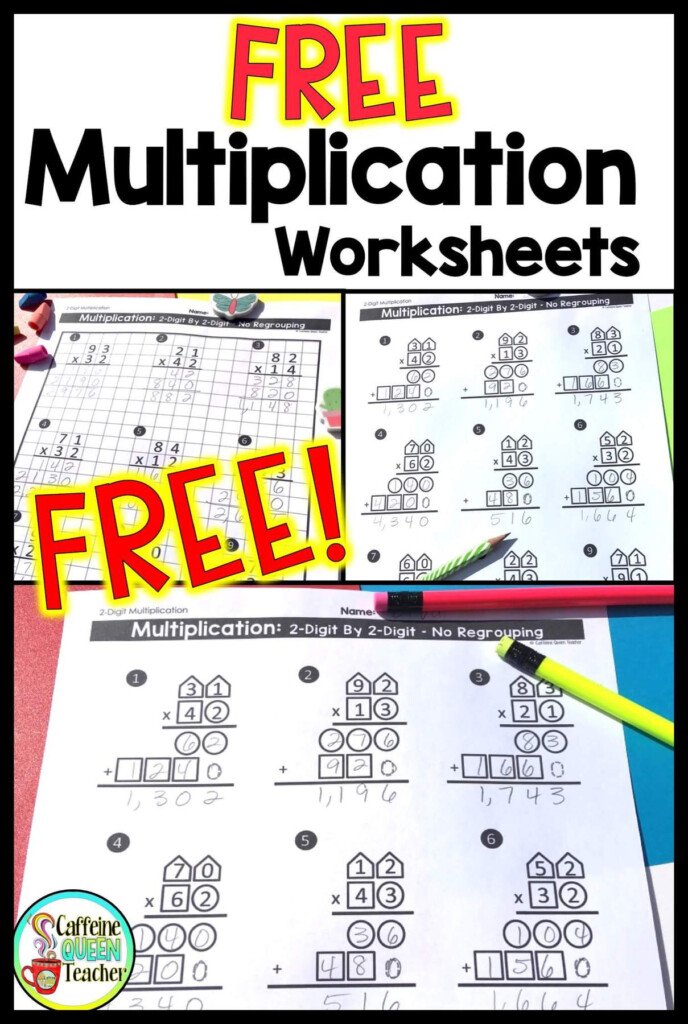 2 Digit Multiplication Worksheets: Differentiated   Caffeine Throughout Multiplication Worksheets On Graph Paper