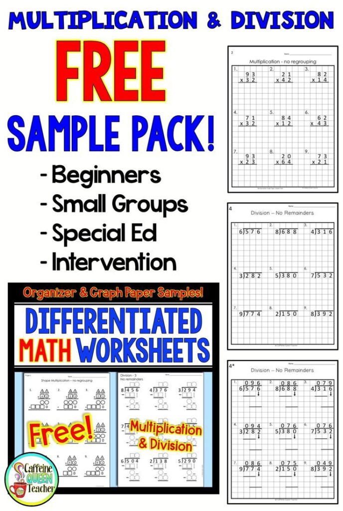 2 Digit Multiplication Worksheets Differentiated Free | 3Rd Throughout Multiplication Worksheets On Grid Paper
