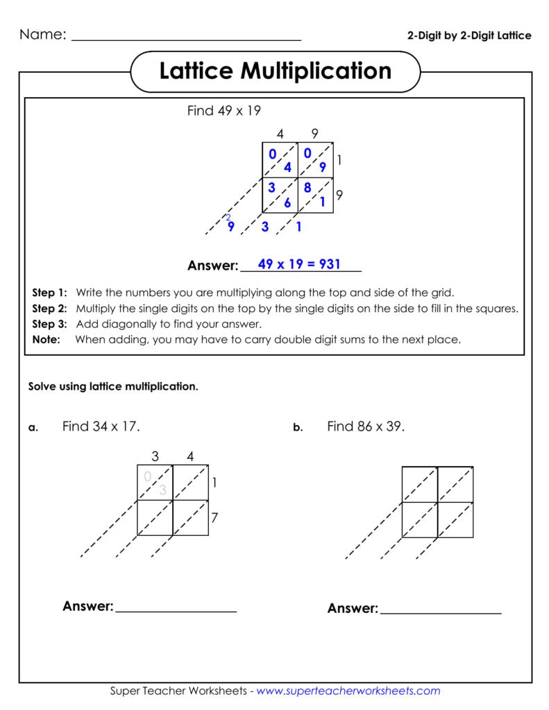 2 Digit2 Digit Lattice Lattice Multiplication Intended For Multiplication Worksheets Lattice Method