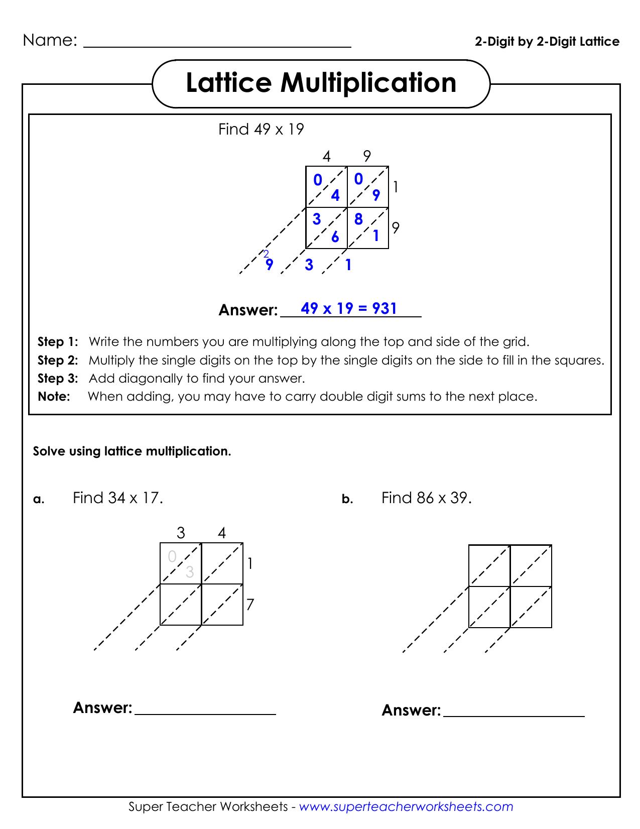 2-Digit2-Digit Lattice Lattice Multiplication intended for Multiplication Worksheets Lattice Method