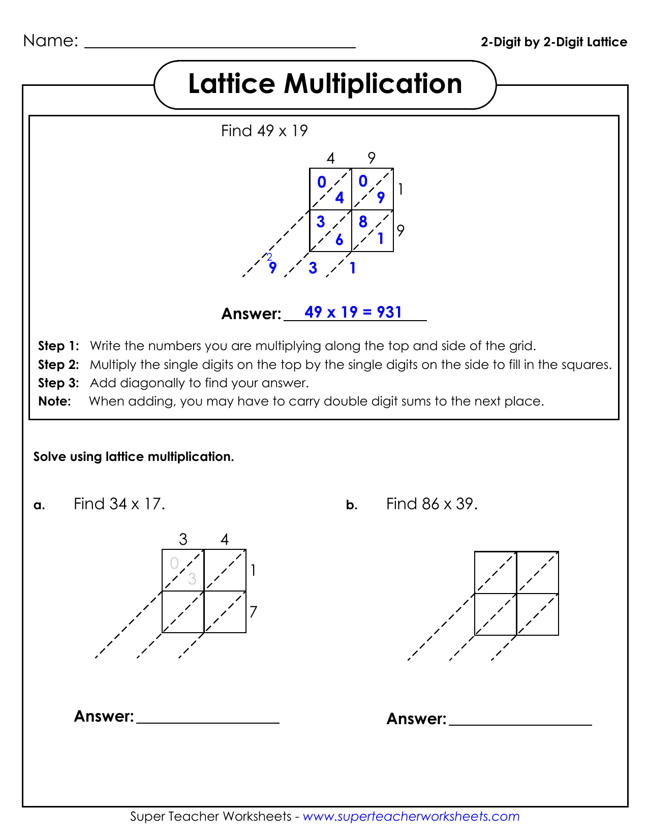 2-Digit2-Digit Lattice Lattice Multiplication pertaining to Multiplication Worksheets Lattice