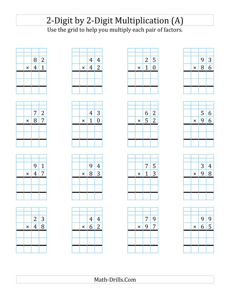 2-Digit2-Digit Multiplication With Grid Support (A) inside Multiplication Worksheets On Grid Paper