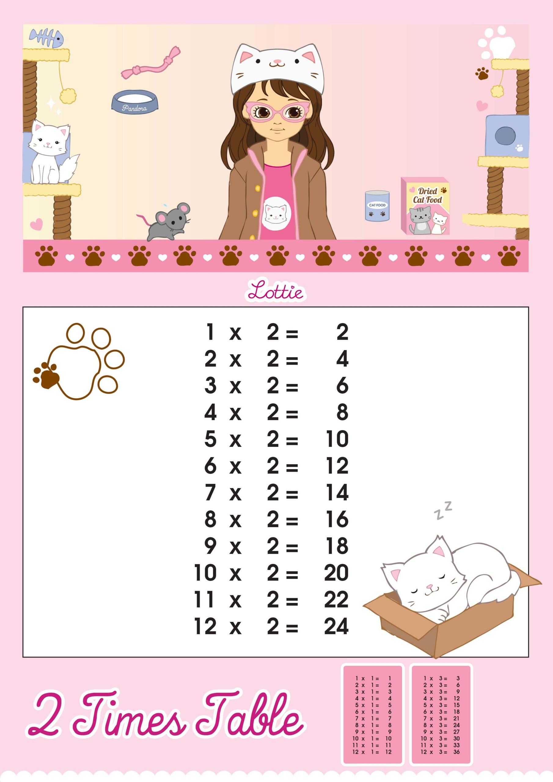 2 Times Table Multiplication Chart – Lottie Dolls within Printable 2 Multiplication Table