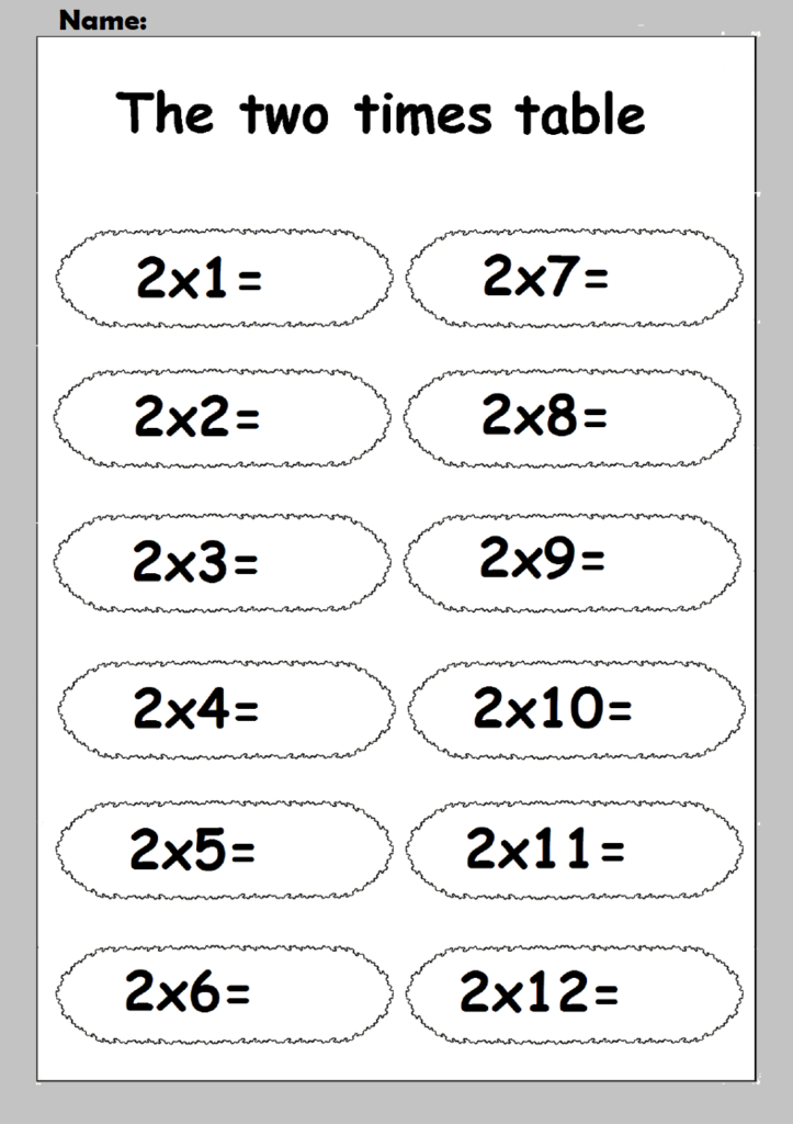 2 Times Table Worksheets   Printable Shelter Inside Printable Multiplication Table