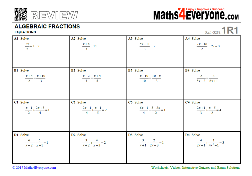 23 Free Fractions Worksheets And Resources For Ks4 Maths Regarding Multiplication Worksheets Ks4