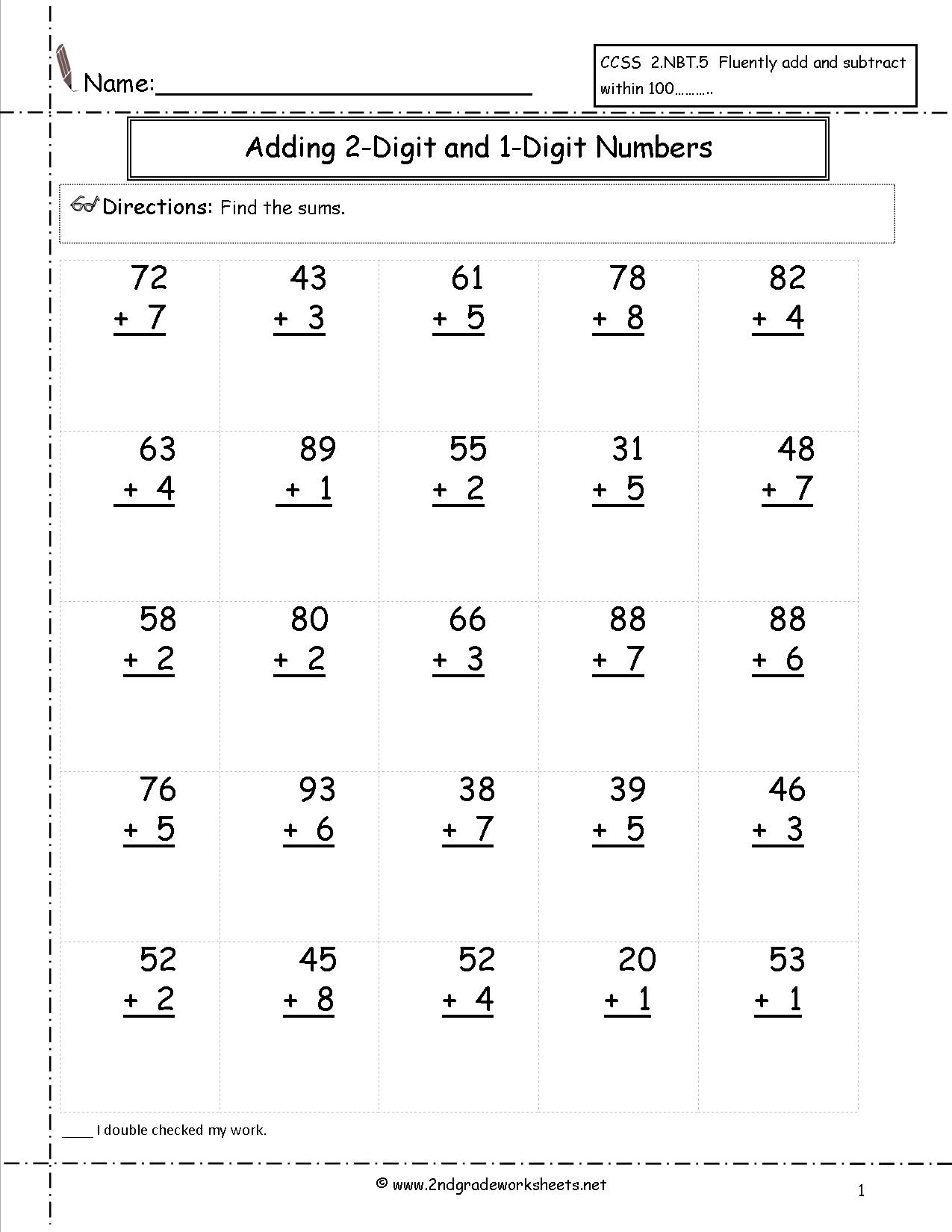 28+ [ Adding Two Digit Numbers Worksheets With Regrouping with Multiplication Worksheets No Regrouping