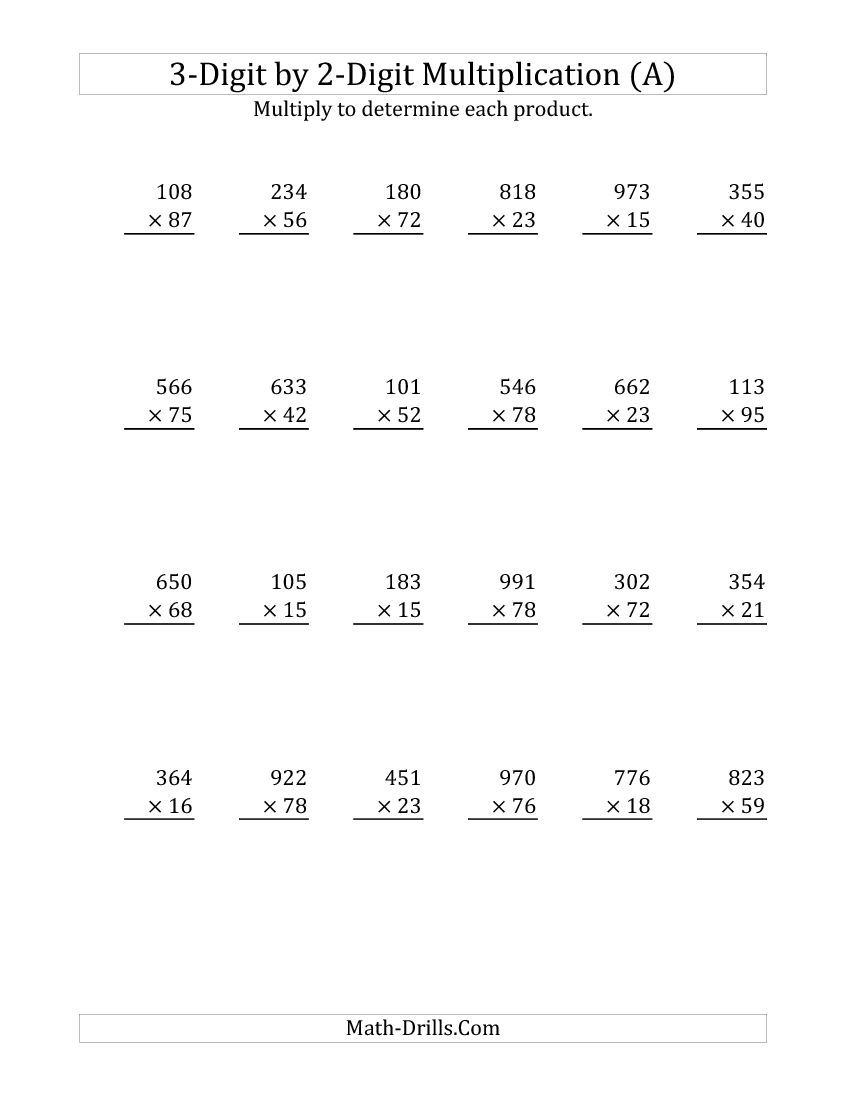 3-Digit2-Digit Multiplication (A) Math Worksheet with Multiplication Worksheets 3 Digit By 2 Digit