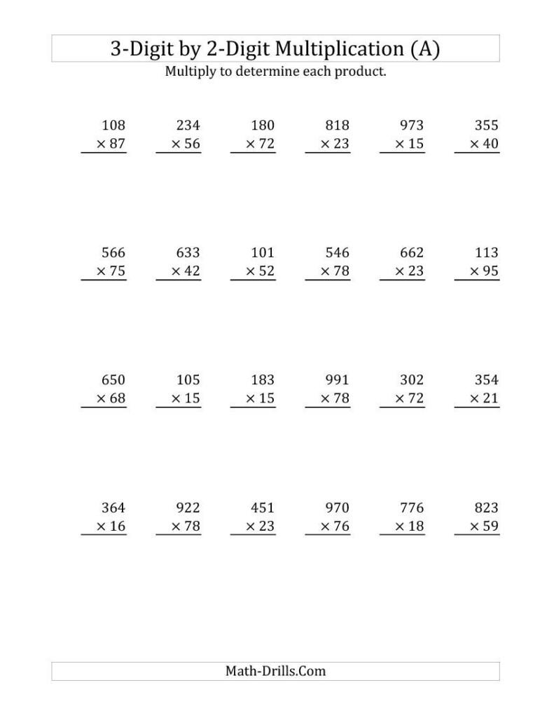 3 Digit2 Digit Multiplication (A) Math Worksheet With Printable 2 Digit Multiplication