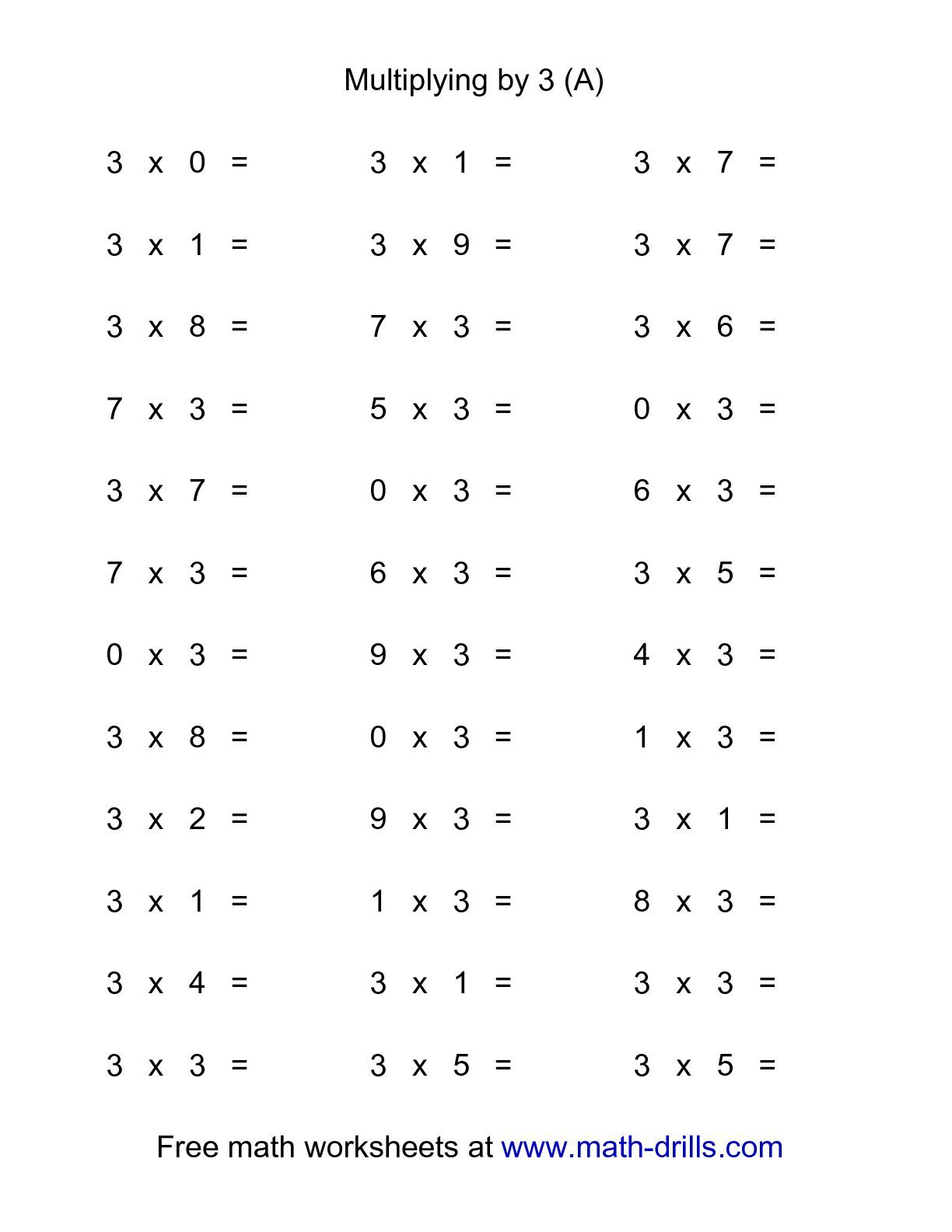 36 Horizontal Multiplication Facts Questions -- 30-9 (A regarding Printable Multiplication Test 0-9