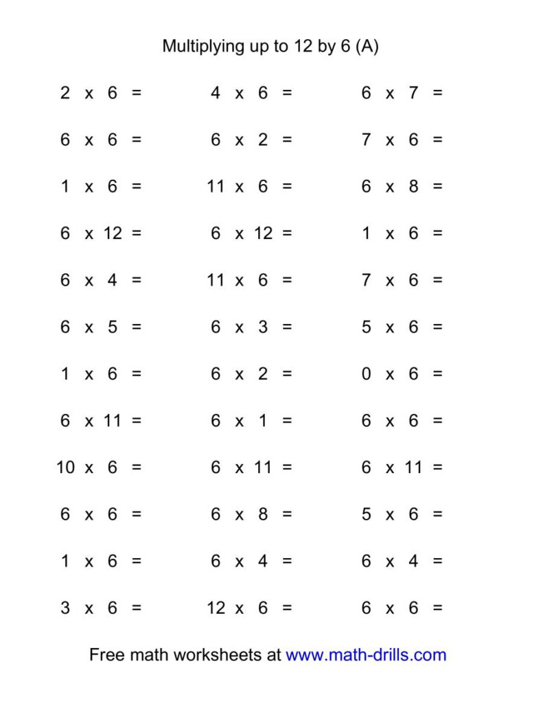 36 Horizontal Multiplication Facts Questions    60 12 (A Inside Printable Multiplication Facts 2S