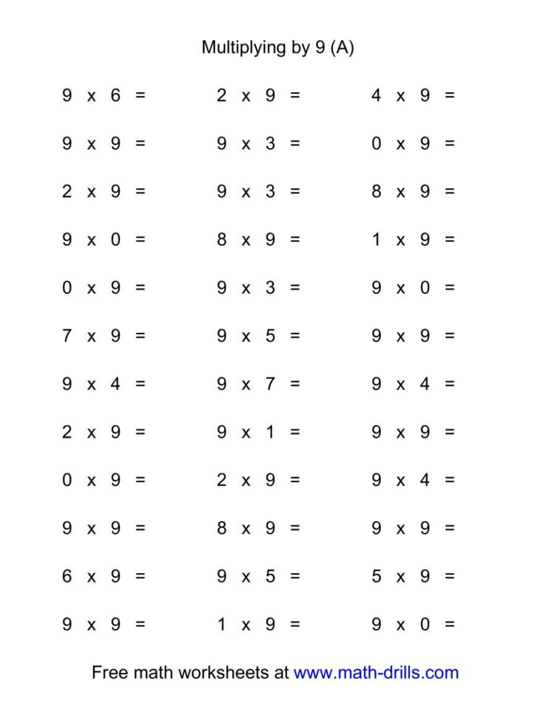 36 Horizontal Multiplication Facts Questions    90 9 (A) In Worksheets On Multiplication