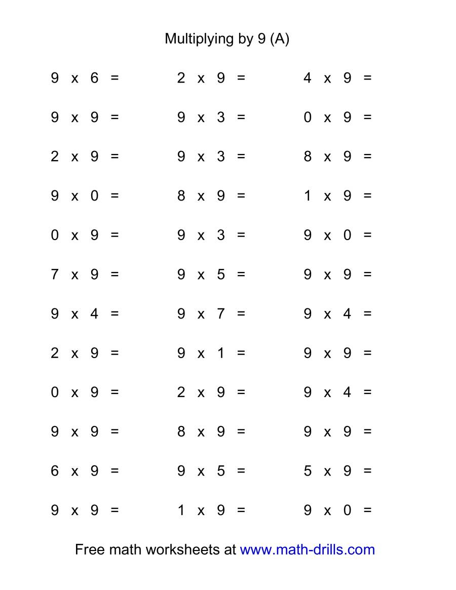 36 Horizontal Multiplication Facts Questions -- 90-9 (A) in Worksheets On Multiplication