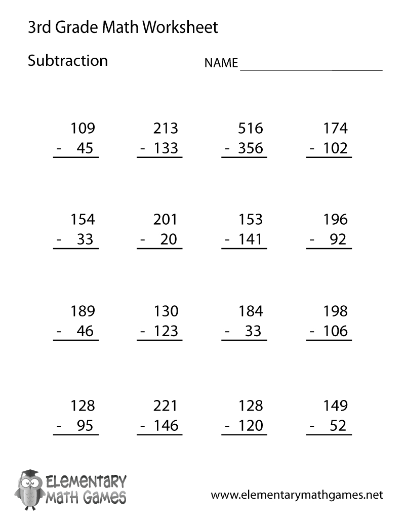 3Rd Grade Math Subtraction Worksheets - Post Date : 21 Dec within Free Printable Multiplication Worksheets 7Th Grade